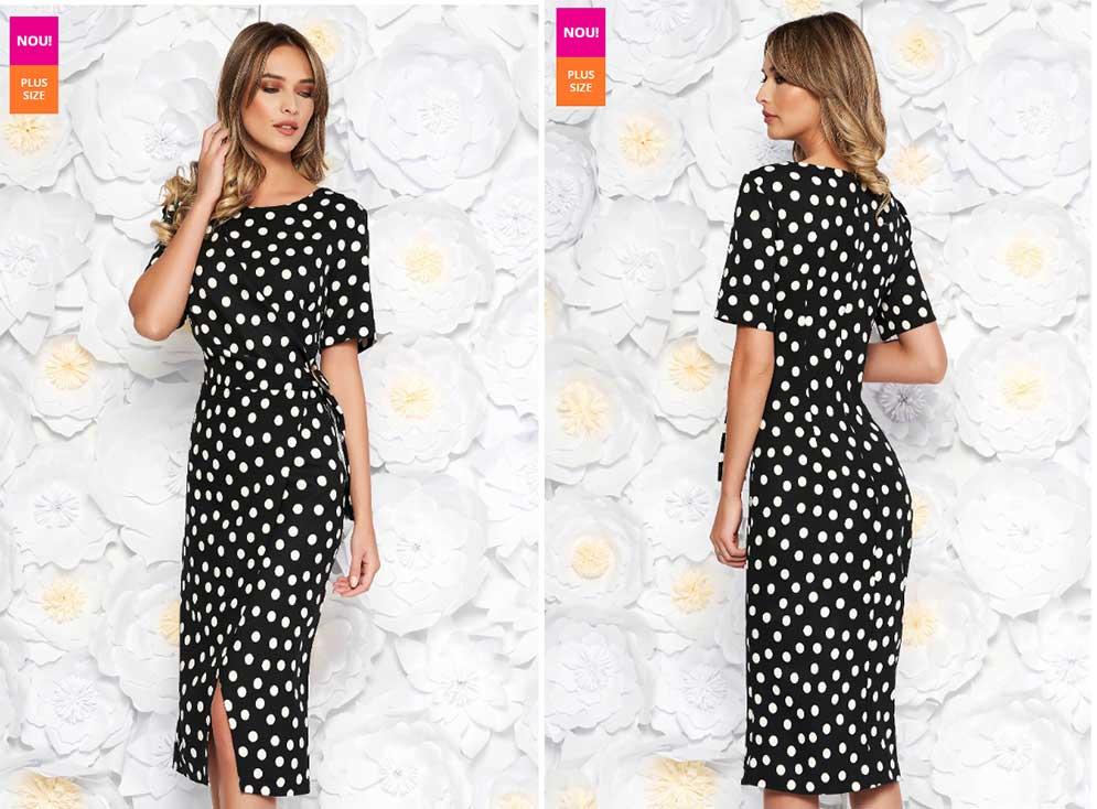 rochie alb negru cu buline